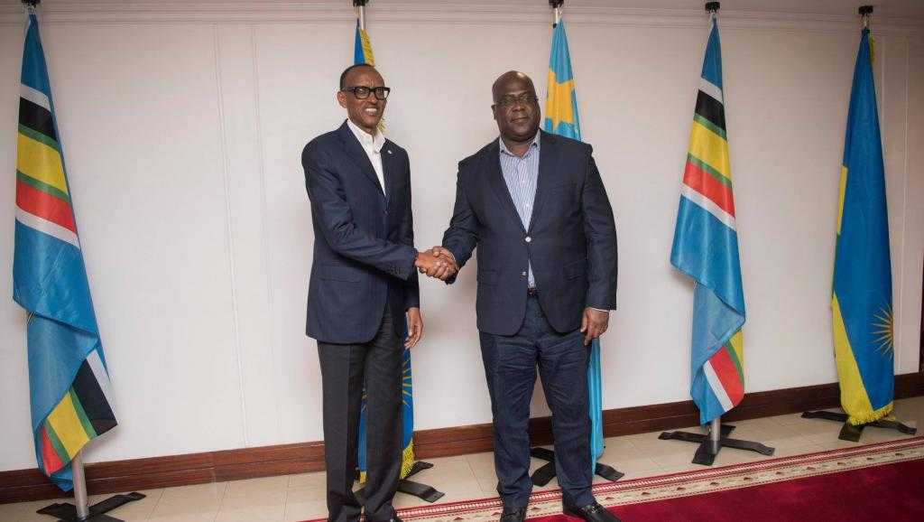 BIENTÔT DES ARMÉES ÉTRANGÈRES SUR NOTRE SOL POUR DES OPÉRATIONS CONJOINTES CONTRE LES GROUPES ARMÉS ! EST-CE SANS RISQUE POUR NOUS ? Paul-Kagame-et-Félix-Tshisekedi-le-25-mars-2019-à-la-résidence-présidentielle-de-Kigali-au-Rwanda
